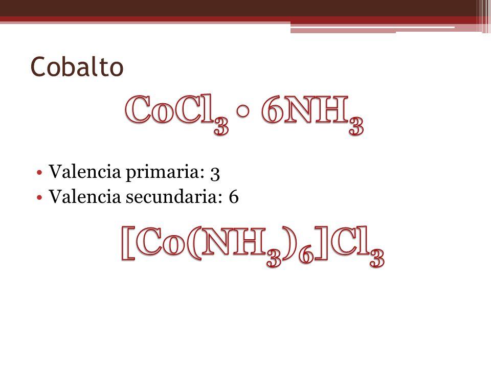 CoCl3 • 6NH3 [Co(NH3)6]Cl3 Cobalto Valencia primaria: 3